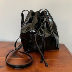 Faux Patent Leather Bucket Bag